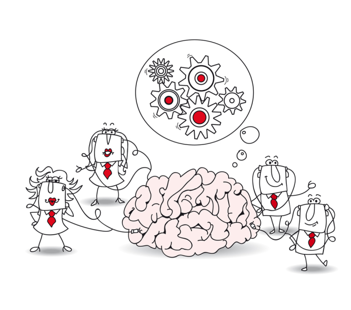 The business team and the brain. Metaphor of collective conscien